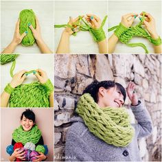 DIY Infinity Scarf Arm Knitting Tutorial-- YES, now take that and put it on the edge of a picture frame or quilt Finger Knitting, Loom Knitting, Hand Knitting, Knitting Patterns, Knitting Needles, Scarf Patterns, Knitting Scarves, Crochet Needles, Arm Knitting Tutorial