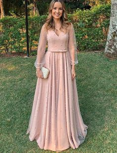 55e2e8f864 Elegant A Line V Neck Long Sleeves Pink Long Prom Evening Dress with Belt