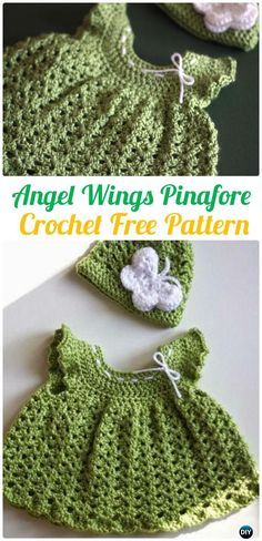 Crochet Angel Wings Pinafore Dress FreePattern - Crochet Girls Dress Free Patterns
