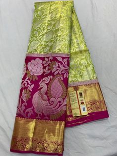 Fabric : Handmade silk ,Pure zari Colour :Light green Saree Length: Mtrs Blouse : Running blouse Wash Care: Dry Clean only