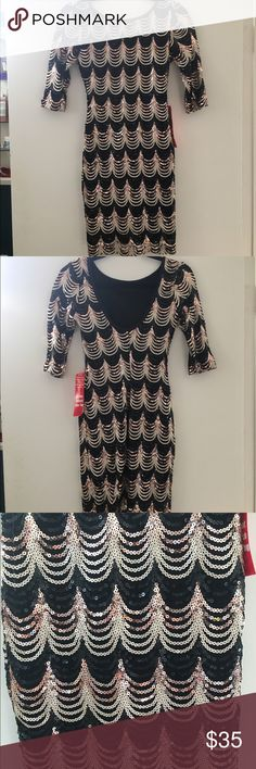 NWOT Beautiful sequined dress, perfect condition! NWOT Beautiful sequined dress, perfect condition! Three-quarter length sleeve's and it does have some stretch to it. Absolutely beautiful dress that shines and every light! Dresses Mini
