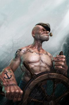 I am what I am. BetweenMirrors.com | Alt Art Gallery: Lee Romaos Fine Art Tattooed Popeye