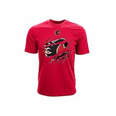 NHL Calgary Flames Youth Ripped Youth Tee, Large, Solid Red