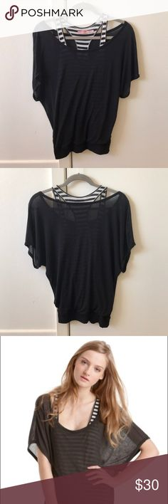 Juicy Couture Double Layer Striped Sheer Tee Sheer, layered striped tee in great condition. Bottom layer is a gray/black striped tank topped with a sheer black off-the-shoulder top Juicy Couture Tops Tees - Short Sleeve