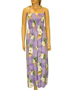 Long Maxi Smocked Top Rayon Dress Hibiscus Jungle – Twisted Palms Trading Co.