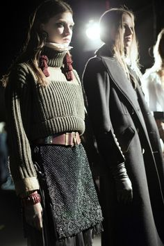 Military inspired jumper and shimmery lace skirt at DSquared2 AW16