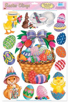 Assorted Easter egg, bunny and chicken clings for any Easter occasion. Perfect for any window, appliance, mirror, etc. 8 Easter egg clings and 5 animal clings. Vinyl. 12in x 17in sheet.