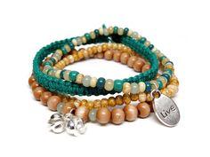 Stretchy beaded bracelet set, by Peace of Hemp