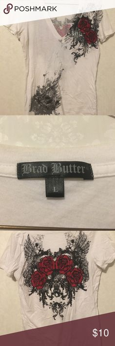 Brad Butter Ladies Tshirt White tshirt with black and red rose design on left front and on back. Very cute. Worn once. In like new condition. 100% cotton Tops Tees - Short Sleeve