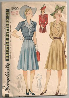 Early 1940s Sewing Pattern / Tailored Day Dress Flared Gored Skirt Blouson Jacket / L Large / Sz 20 38 Bust on Etsy, $25.16