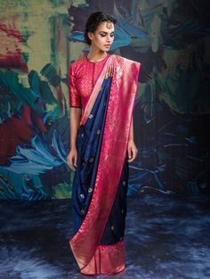 Blue and Pink Banarasi Silk Saree with Weaving Work Saree Draping Styles, Saree Styles, Indian Attire, Indian Ethnic Wear, Indian Beauty Saree, Indian Sarees, Indian Blouse, Indian Wedding Outfits, Indian Outfits