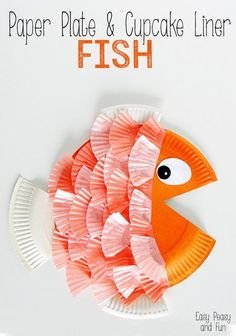Paper Plate & cup cake liner fish craft for kids