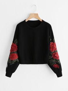 ROMWE Rose Embroidery Sweatshirt Women Vintage Black Long Sleeve Autumn Pullover 2019 New Applique Casual O Neck Sweatshirt - black,xl Hoodie Sweatshirts, Hoodies, Fashion Sweatshirts, Sweat Shirt, Jugend Mode Outfits, Rose Shirts, Embroidered Sweatshirts, Embroidered Tops, Embellished Top