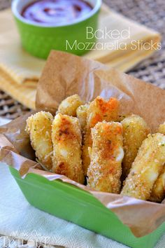 Freezer-Friendly Baked Mozzarella Sticks are perfect for after-school snacks, late night munchies, and game day! | MomOnTimeout.com | #appetizer #cheese #recipe
