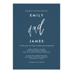 She and Him | Custom Color Wedding Invitation featuring minimal, modern font paired with hand lettering watercolor