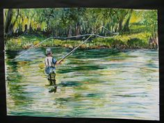 Acrylic painting titled 'Gone Fishing' by Sheila Cronin Fleming