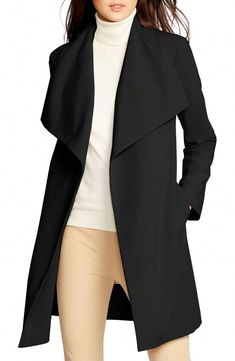 1ce2a047e Belted Drape Front Coat, Main, color, Black Black #Women'scoats Office