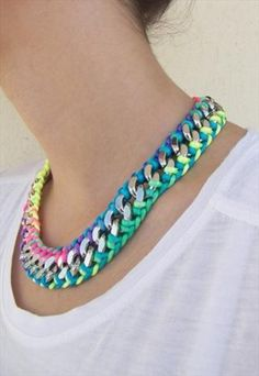 Necklaces for summer; colorful, fresh and bright. Now throw on your favorite soft white t-shirt. This length works nicely because it compliments the neckline of the shirt perfectly.