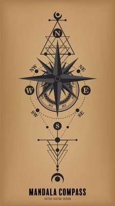 Man And Women Tattoo : Vector Tattoo Design Compass Mandala Vector Premium, Mandala Compass Tattoo, Nautical Compass Tattoo, Compass Art, Compass Vector, Compass Tattoo Design, Geometric Tattoo Design, Design Mandala, Mens Compass Tattoo, Compass Drawing