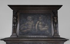 Antique Neo-Renaissance fireplace in oak with a painting with two putti (Reference - Available at Galerie Marc Maison Saint Ouen, Fireplace Inserts, Renaissance Fashion, Architectural Antiques, Corinthian, Coat Of Arms, 19th Century, Primitive, Carving