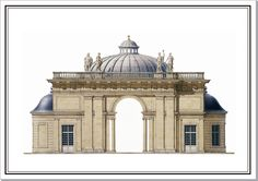 Andrew Zega and Bernd H. Dams, watercolor, Sceaux Aurora Pavilion domed project