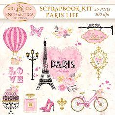 Paris Scrapbook, Paris Clipart, Paris Printable, Paris Png, Paris Watercolor, Eiffel Tower, Digital Paris, Paris Clip Art, Scrapbook Paris