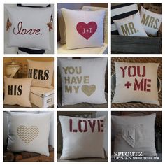 hand painted {heart} day pillows... www.sproutzdesign.com