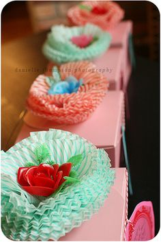cupcake liner flowers with   #vintage plastic flowers in the middle #diy