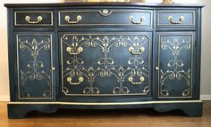 How to Turn an Old Dresser into a Gilded Stunner.  This is a stunning piece. Wort all the work.