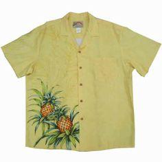 Aloha shirts-mens-PARADISE FOUND (Paradise found)-yellow/Hawaii ☆ Hawaiian ☆ overseas wedding and overseas wedding / biz / uniforms