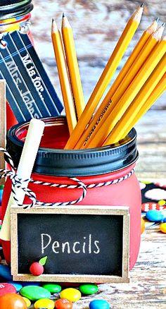 DIY School Mason Jars ~ the perfect teacher appreciation gift... cute idea for Back to School!