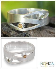 Novica Handmade Sterling Silver 'Revelations' Citrine Peridot Ring