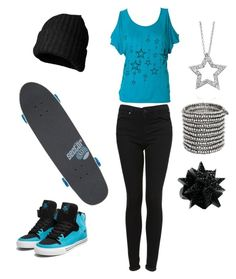 """Tomboyish outfit ."" by laylahood ❤ liked on Polyvore featuring Supra, Topshop, Marc by Marc Jacobs, Philippe Audibert, Eddie Borgo and Sector 9"