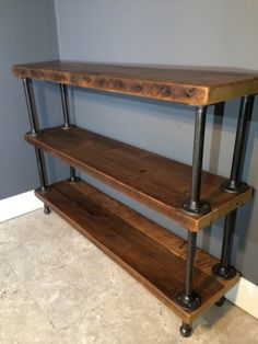 Reclaimed Wood Shelf/shelving Unit With 3 Shelfs-industrial Urban Look With Gas…