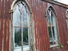 Somerset England, Stone Cottages, Listed Building, Church Architecture, Private Property, Corrugated Metal, Arched Windows, Place Of Worship, Wooden Doors