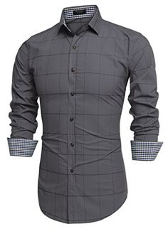 Coofandy Men& Fashion Long Sleeve Plaid Button Down Casual Shirts (XXX-Large, Gray) Stylish Mens Outfits, Stylish Shirts, Casual Shirts, Indian Men Fashion, Mens Fashion, Mens Designer Shirts, Mens Sleeve, Camisa Polo, Mens Clothing Styles