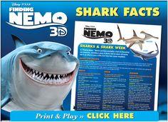FREE: Shark Week Fun Shark Facts from Nemo! Daniel Steckler DMD Pediatric Dentistry | #Lexington | #KY | http://www.kykidsdentist.com/