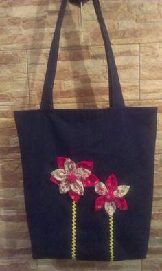 Farmertáska textil virággal
