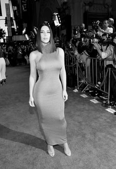 """Kim Kardashian Photos Photos - This image has been converted to black and white.)  TV personality Kim Kardashian West attends the premiere of Open Road Films' """"The Promise"""" at TCL Chinese Theatre on April 12, 2017 in Hollywood, California. - Premiere of Open Road Films' 'The Promise' - Red Carpet"""