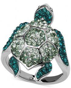 Kaleidoscope Green Swarovski Crystal Turtle Ring in Sterling Silver - Rings - Jewelry & Watches - Macy's (turtles candy families) Turtle Jewelry, Turtle Necklace, Animal Jewelry, Pendant Jewelry, Gemstone Jewelry, Sterling Silver Jewelry, Silver Rings, Jewelry Rings, Sterling Sliver