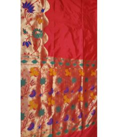 Red handloom Banarasi Paithani Design Silk Saree