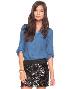 Lightweight shirt and black beaded skirt