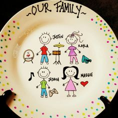Personalized ceramic plates  family stick figure plate  Can personalize plates mugs wine  sc 1 st  Pinterest & Personalized Stick Figure Family- Decorative Plate | Pinterest ...