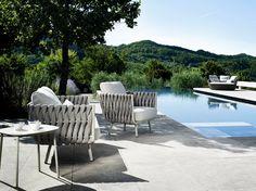Upholstered garden armchair with armrests TOSCA   Garden armchair - TRIBÙ