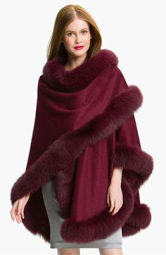 Edit: Get that Christmasy look with fur trim (preferably white but!) Nordstrom Dresses - Make this wrap-around Fur Trimmed Cape. Build it on a dress form from a long piece of yardage. Fur Fashion, Winter Fashion, Fashion Outfits, Womens Fashion, Fashion Trends, Fur Trimmed Cape, Cape Designs, Cashmere Cape, Jackett