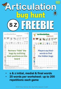 FREEBIE Articulation Bug Hunt S Z : Plays like Battleship! Includes initial, medial & final s & z words; 20 words per worksheet; up to 200 repetitions each game!