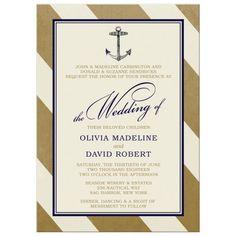 Wedding Invitations - Elegant Nautical Gold Stripes