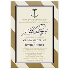 Wedding Invitations - Elegant Nautical Gold Stripes