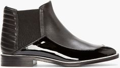 Nicholas Kirkwood Black Matte and Patent Leather Chelsea Boots in Black for Men