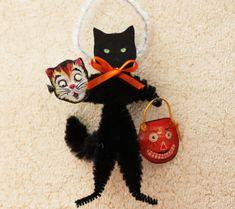 Black Cat Halloween Vintage Look Ornaments by GreenGypsies on Etsy
